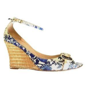 Gucci Floral Wedge Sandal Horsebit Peep Toe Blue 6